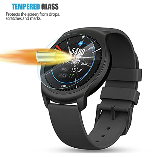 AKWOX (4-Pack) Tempered Glass Screen Protector for Ticwatch C2 / Ticwatch 2 Smartwatch, [0.3mm 2.5D High Definition 9H] Anti Scratch Screen Protector ...