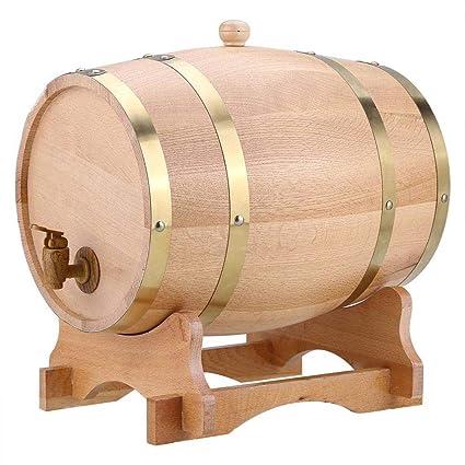 Woode 10 Litri Barril de Vino Madera Dispensador de Roble Forro de Papel de Aluminio Incorporado