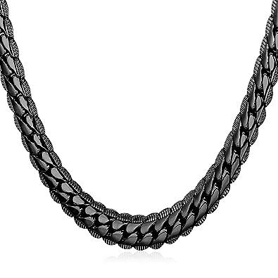 973f69b4aa72 U7 Men   Teen Boys Black Chain Hip Hop Style Jewelry Ion-Plating Black Metal
