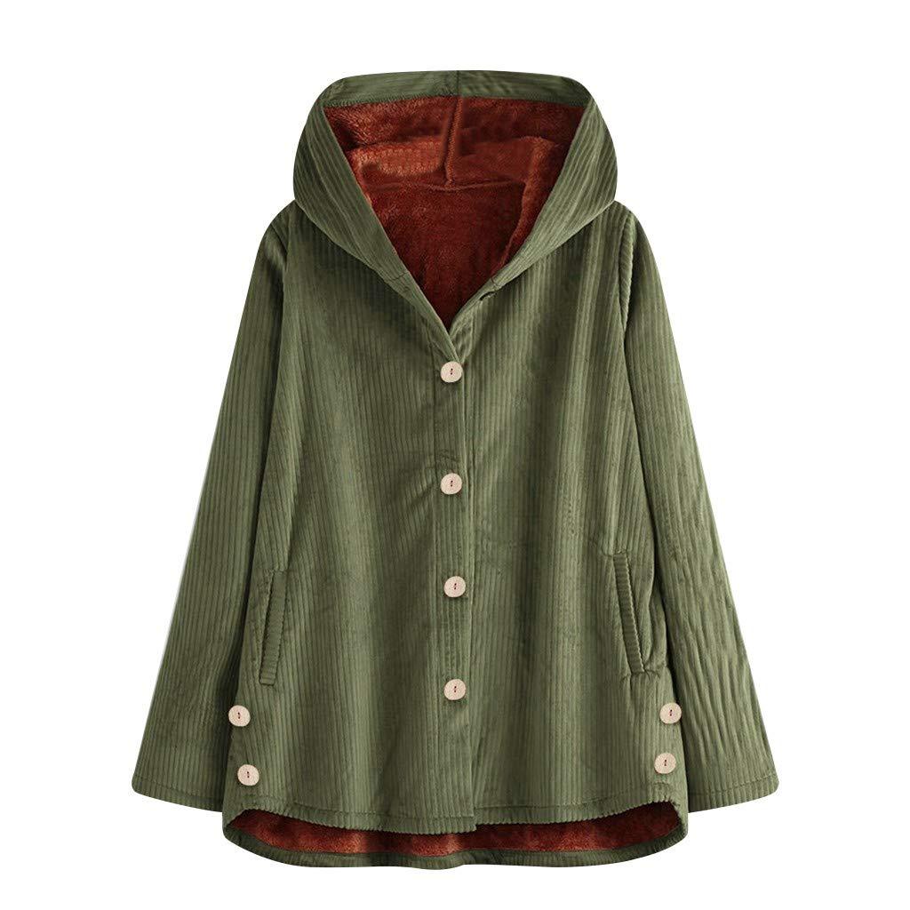 Fammison Women Hoodie Winter Casual Plus Size Baggy Furry Cardigan Coats Winter Warm Button Pockets Coat Green by Fammison