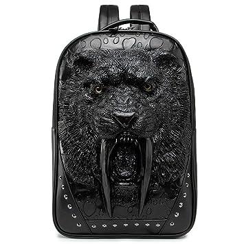 LUCKGXY Mochila Unisex del Ordenador portátil, 3D Leopard Head PU Mochily College Schoolbag para Viajes al Aire Libre de Compras de Ocio Camping y Diario ...