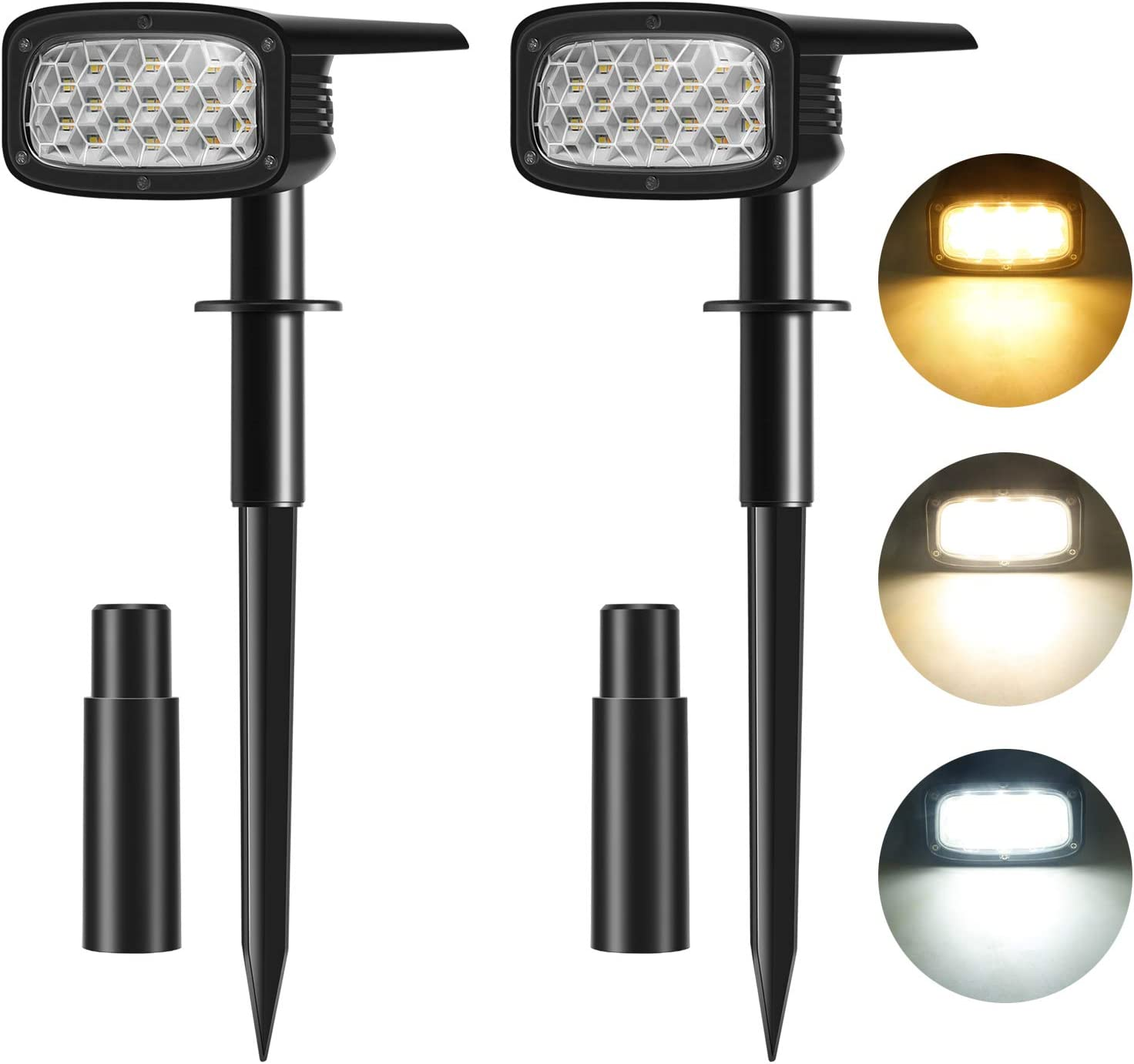 TOCLL 3 Color Solar Spotlights Outdoor, 34 LEDs Wireless Landscape Spotlights,3 Brightness Modes IP67 Waterproof Solar Powered Spot Lights (2-in-1) for Yard Path Patio Porch Walkway Garden -2 Pack