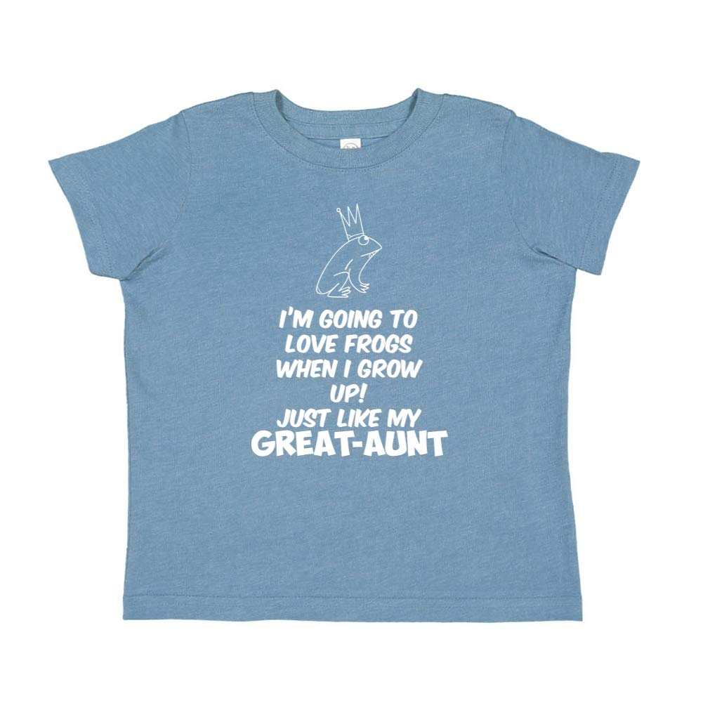Toddler//Kids Short Sleeve T-Shirt Just Like My Great-Aunt Im Going to Love Frogs When I Grow Up