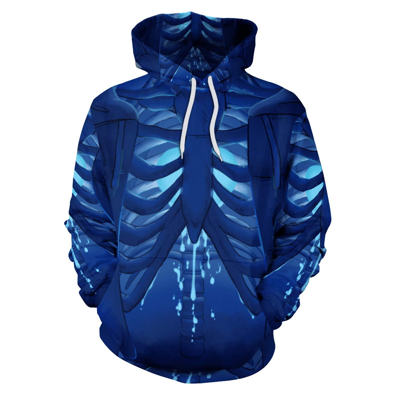 Mrsrui Casual Long Sleeve Hoodie Pullover Sweatshirt - 3D Graphic Printed Blue by Mrsrui