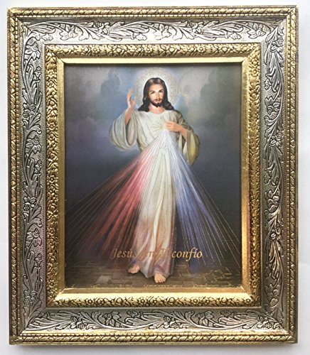 Madison Imports Divine Mercy Beautiful Portrait Print - 13 Inch Ornate Gold Finish Frame.Jesus Divine Mercy Frame