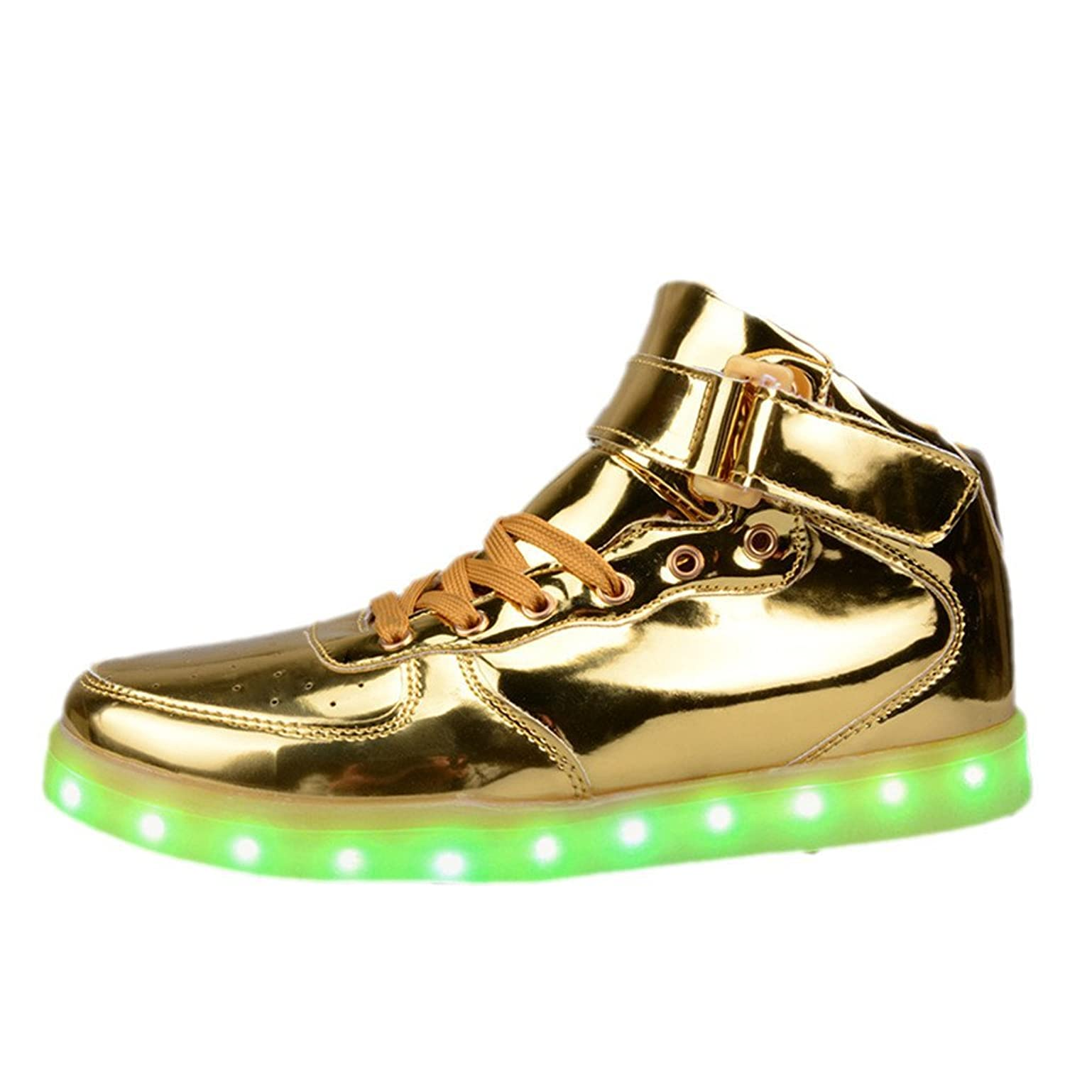 O&N Women Men Unisex High Top USB Charging LED Shoes Flashing Sneakers