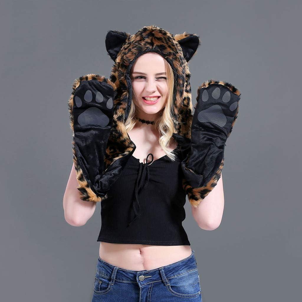 zhiwenCZW 3 In 1 Frauen M/änner Fluffy Pl/üsch Tier Wolf Leopard Hood Schal M/ütze mit Pfoten Handschuhe Handschuhe Verdicken Winter Warm Earflap Bomber Cap