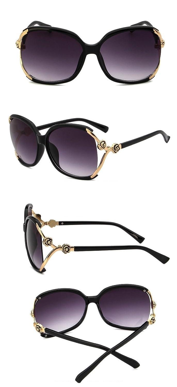 e8704430dab92 Amazon.com  Chezi Women s Gold Rose Embellish Vented Lens Oversized  Sunglasses (black)  Clothing
