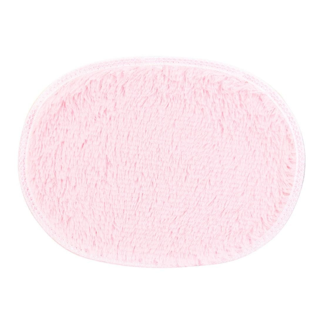 Sikye Shaggy Area Rug Home Bedroom Bathroom Doormat Soft Oval Chair Cover Seat Pad Non-slip 3040cm (pink)