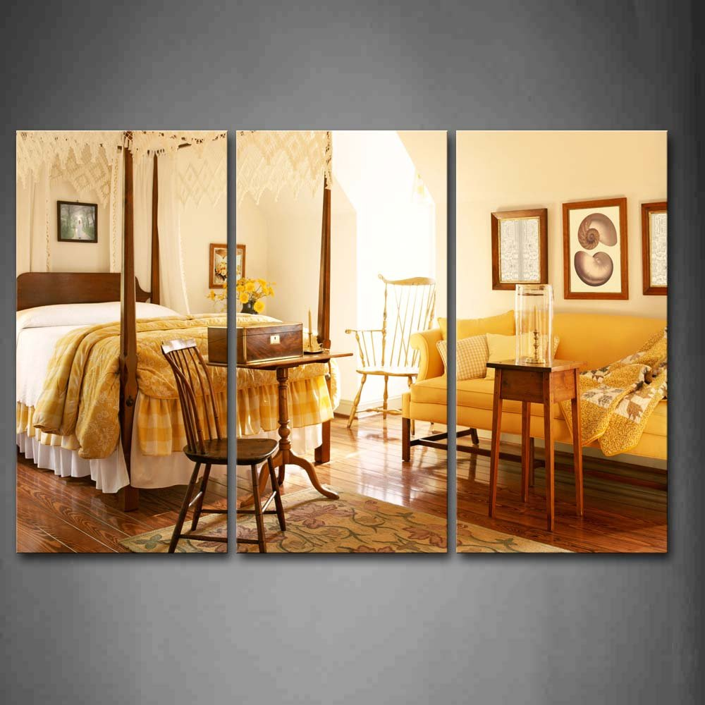 Amazon.com: First Wall Art - Pictures Bed Wooden Chairs And Desk ...