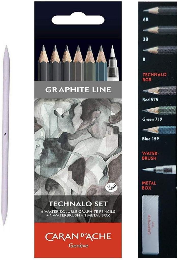 Caran dAche 6 Acuarela lápices de Grafito y Pincel Acuarela más Mini Estompe,Technalo Grafito 6 Conjunto De Lápices Surtidos: Amazon.es: Juguetes y juegos