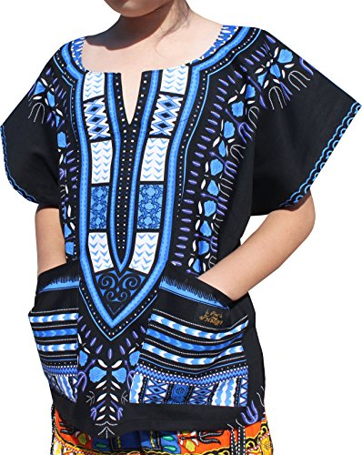 - Raan Pah Muang RaanPahMuang Branded Childrens African Dashiki Short Sleeve Shirt In Black Tones, 3-6 Years, Blue On Black