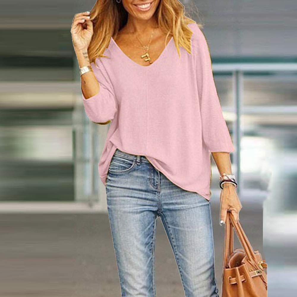 Women Shirts and Blouses,Sharemen Fashion Nine-Point Sleeve V-Neck ...