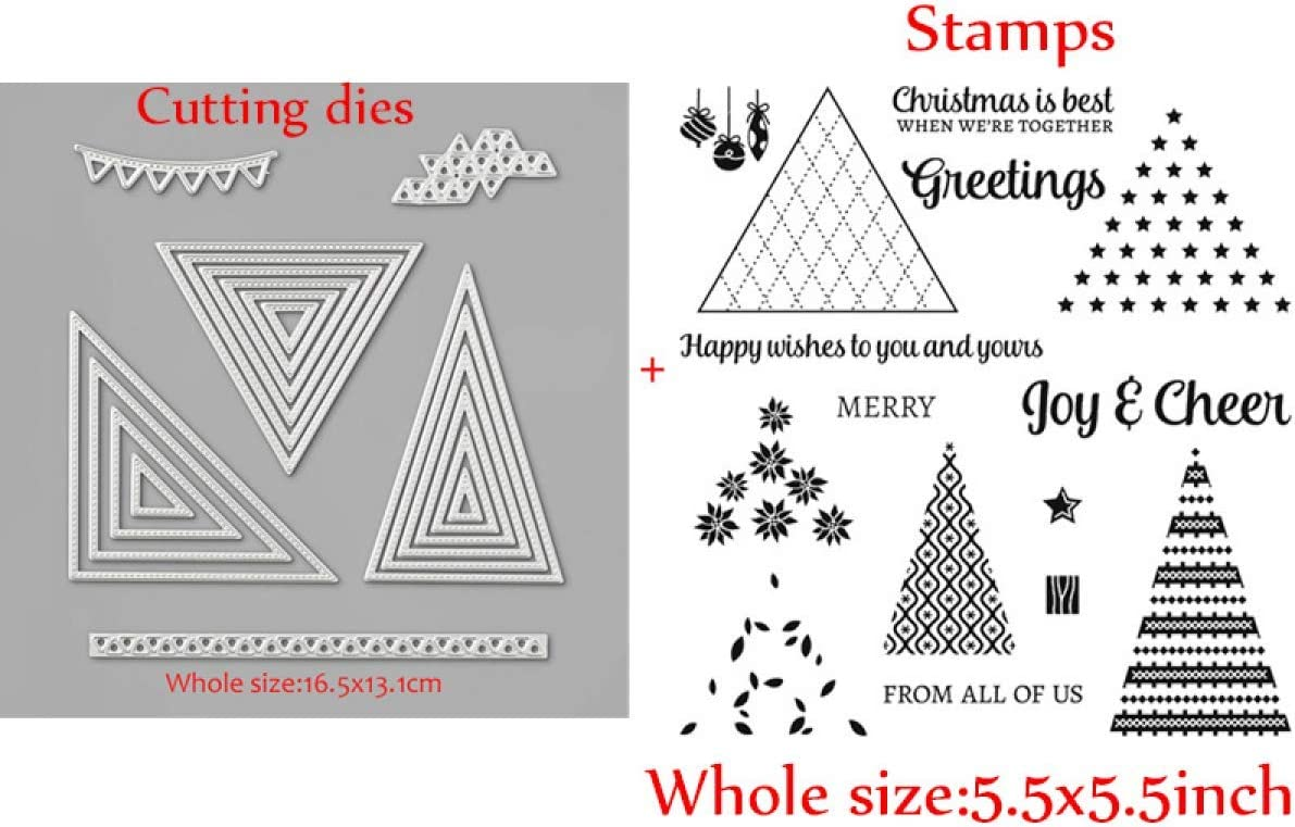 Triangle Embossing Metal Cutting Dies and Matched Stamps Sets for Card Making Clear Gel Rubber Stamps Star Christmas Greetings Joy /& Cheer Xmas Tree Leaves Bell Stamping Embossing Stencil Metal Scrap
