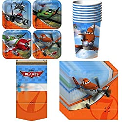 Disney Planes Party Supplies Pack Including Cups, Plates, Napkins and Tablecover for 8 Guests