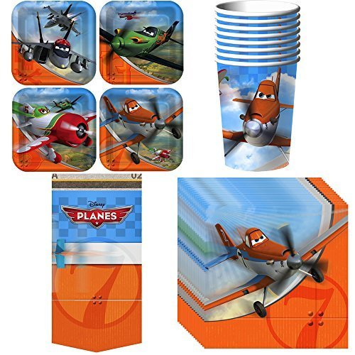 Disney Planes Party Supplies Pack Including Cups, Plates, Napkins and Tablecover for 8 Guests -
