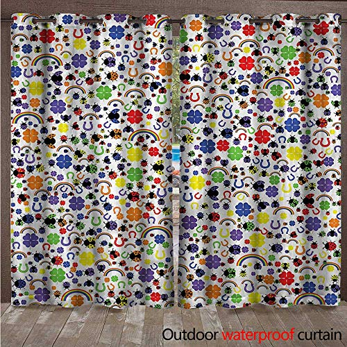 Home Patio Outdoor Curtain Lucky Charms Ladybird W72 x L84(183cm x 214cm) ()