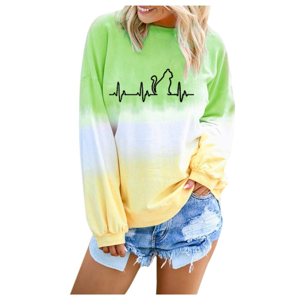 Hypothesis_X Women's Gradient Cat Printed Long Sleeve Top Round Neck Casual Loose Pullover Sweatshirt Green by ✔ Hypothesis_X ☎ Top