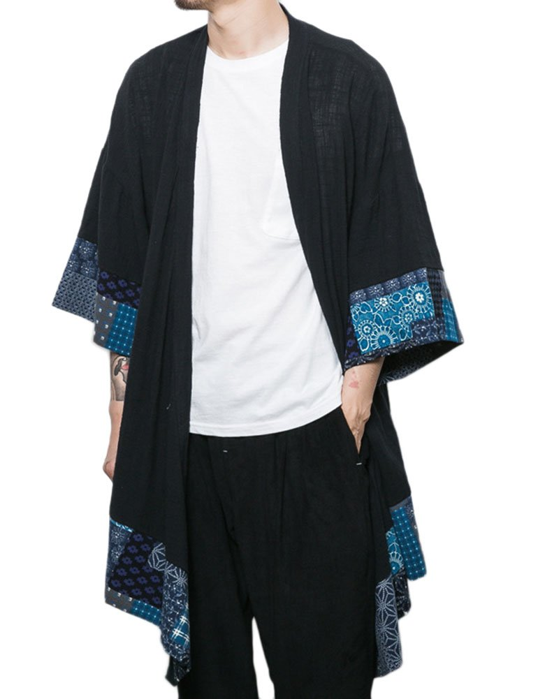 Idopy Men`s Vintage Cotton Linen Cloak Poncho Cape Coat Cardigan Black US L Tag 2XL by Idopy