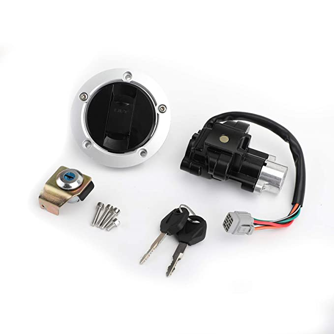 Areyourshop Juego de llave de bloqueo de interruptor de encendido y tapa de combustible para Suzu-ki GSF250 GSF400 Bandit