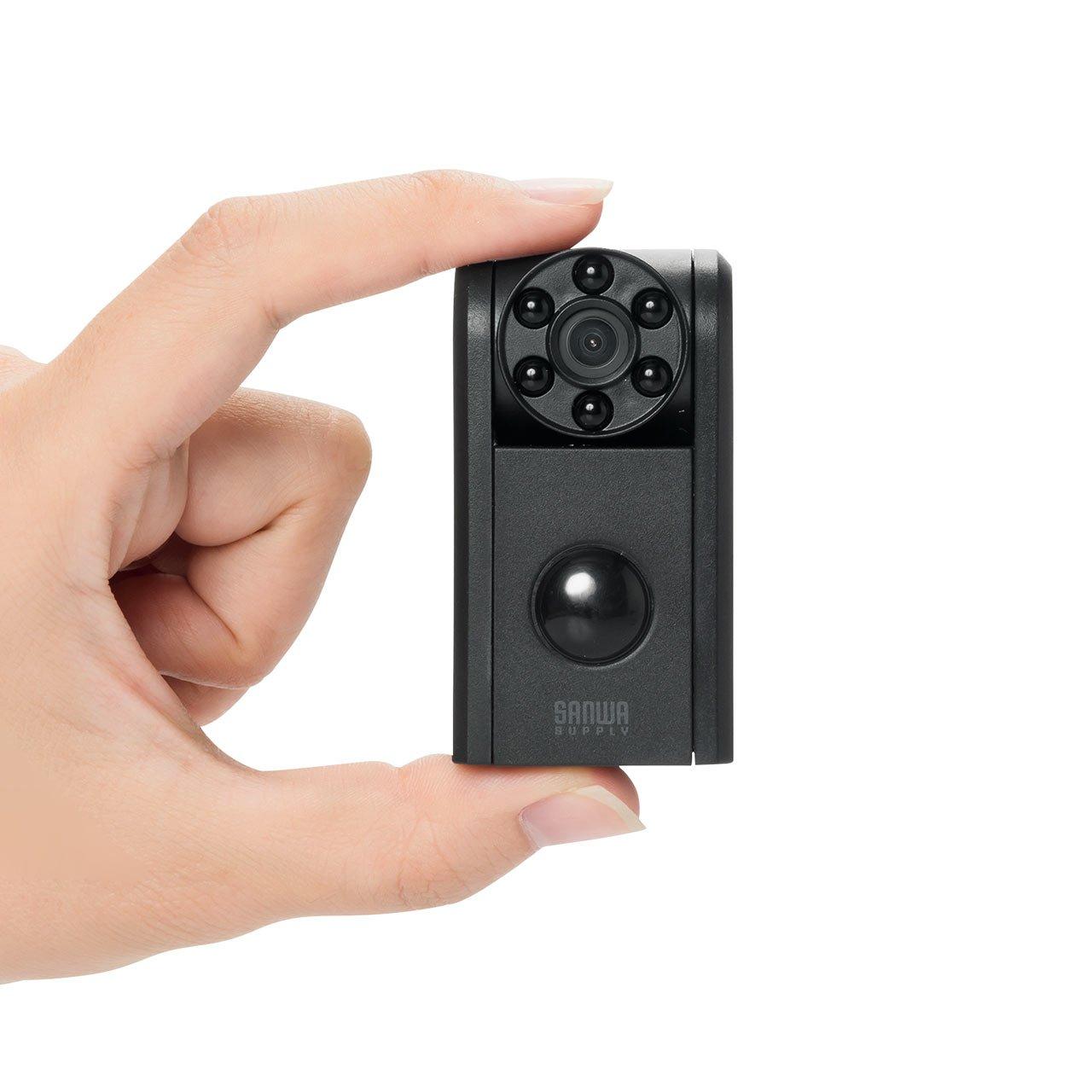 サンワダイレクト 防犯カメラ 小型 赤外線LED 夜間撮影 人感センサー microSD保存 音声録音 HD画質 最大12ヶ月待機可能 400-CAM062 B076J32Q1D