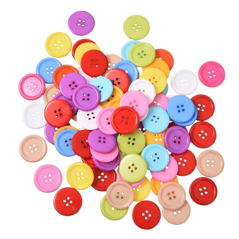 Outflower 100pcs colorato plastica bottoni 4fori per bambini Buttons cute Candy colori decorazione bottoni per cucire/scrapbooking/fai da te a mano–colori casuali 13mm