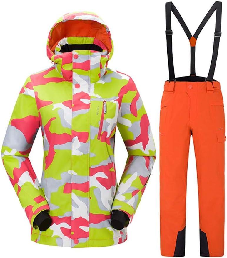 アウトドアスキースーツセット女性の防風性の暖かい通気性のスキースーツセット (色 : C5, サイズ : XL)