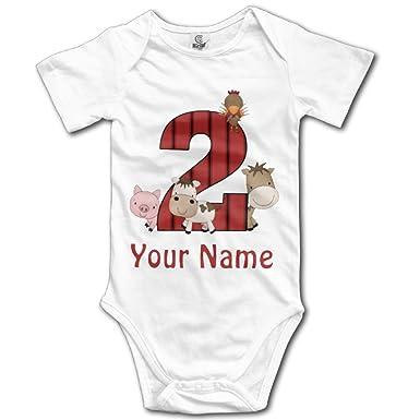 2Nd Birthday Farm Animals Personalized Newborn Cute Baby Onesie Bodysuit