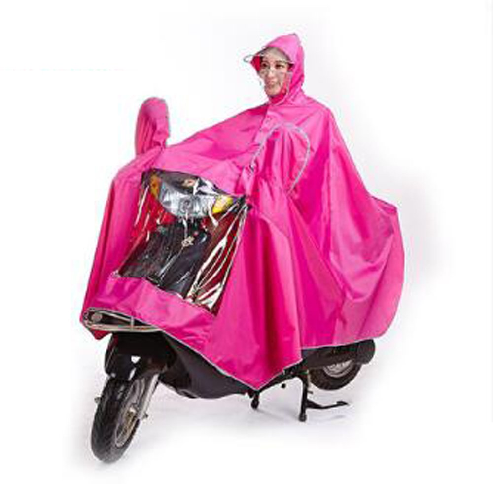 Biscount Bike Waterproof Rain Coat Cycle Windproof Raincoat Bicycle Cape Cycling Poncho Two Face Masks & Reflective Stripe-Pink by Biscount