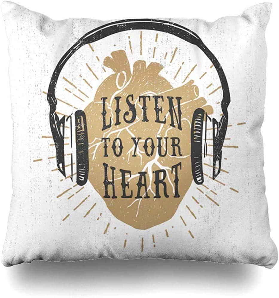18X18inch Funda de Almohada Corazón Antiguo Romántico Golden Holidays Sketch Gráfico Escuchar Letras Inspiradoras Amor Funda de Almohada Funda de Almohada