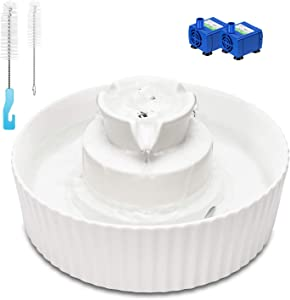 Cat Water Fountain Porcelain, Cupcake Pet Fountain for Cat and Dog, 2 Water Pumps, Scratch Resistant Cat Water Dispenser, Easy to Clean Ultra Quiet, Cleaning Brushes, Stronger Than Ceramic Fountain