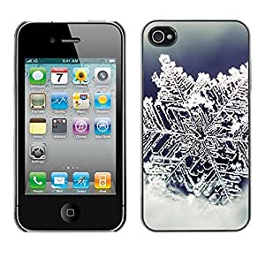 YOYO Slim PC / Aluminium Case Cover Armor Shell Portection //Christmas Holiday Ice Snow Flower 1258 //Apple Iphone 4
