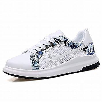 Oudan Zapatillas Deportivas con Tendencia a la Moda Zapatillas clásicas para Todos los Partidos Zapatos cómodos y Transpirables (Color : White Blue, ...
