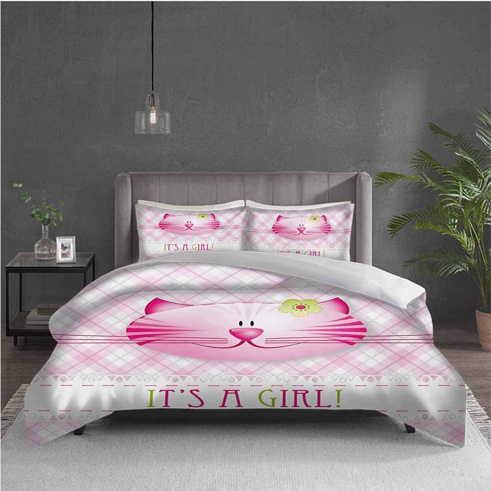 Gender Reveal 3-Pack (1 Duvet Cover and 2 Pillowcases) Bedding Its a Girl Message Happy Cat Kitten Little Flower Retro Pattern Polyester (Twin) Pink Green and White