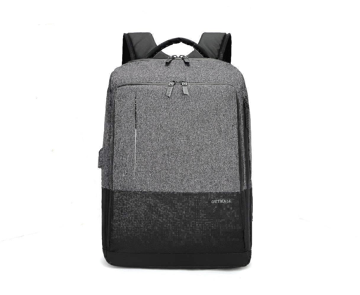 高耐久 ビジネス 旅行用バックパック 男女兼用 USB充電ポート付き 11.81*7.09*17.72inches グレー MLBW001 B07KY6Z3TK グレー
