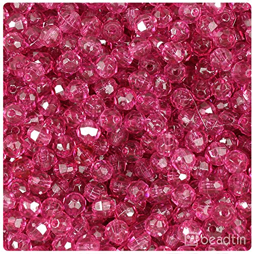 (BeadTin Fuchsia Transparent 6mm Faceted Round Craft Beads (750pcs))