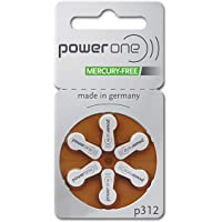 PowerOne Mercury Free Hearing Aid Batteries Size 312, 6 Batteries per Pack Plus Free Battery Caddy