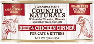 Country Naturals Grandma Mae's Beef & Chicken Chunks Dinner - Case of 24-2.8 Oz Cans Cat Food (856235007297)