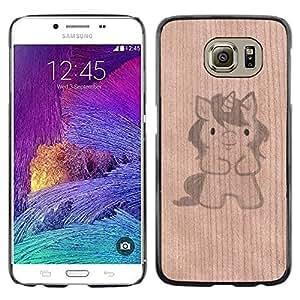 - / Unicorn Cartoon Drawing Cute Pet - - Funda Delgada Cubierta Case Cover de Madera / FOR Samsung Galaxy S6 G9200 / Jordan Colourful Shop/