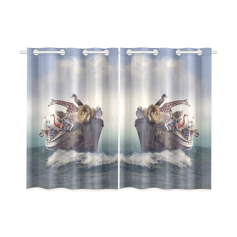 your-fantasia Wild Animals and Birds in an Old Boat Window Curtain Kitchen Curtain Two Pieces 26 x 39 inches