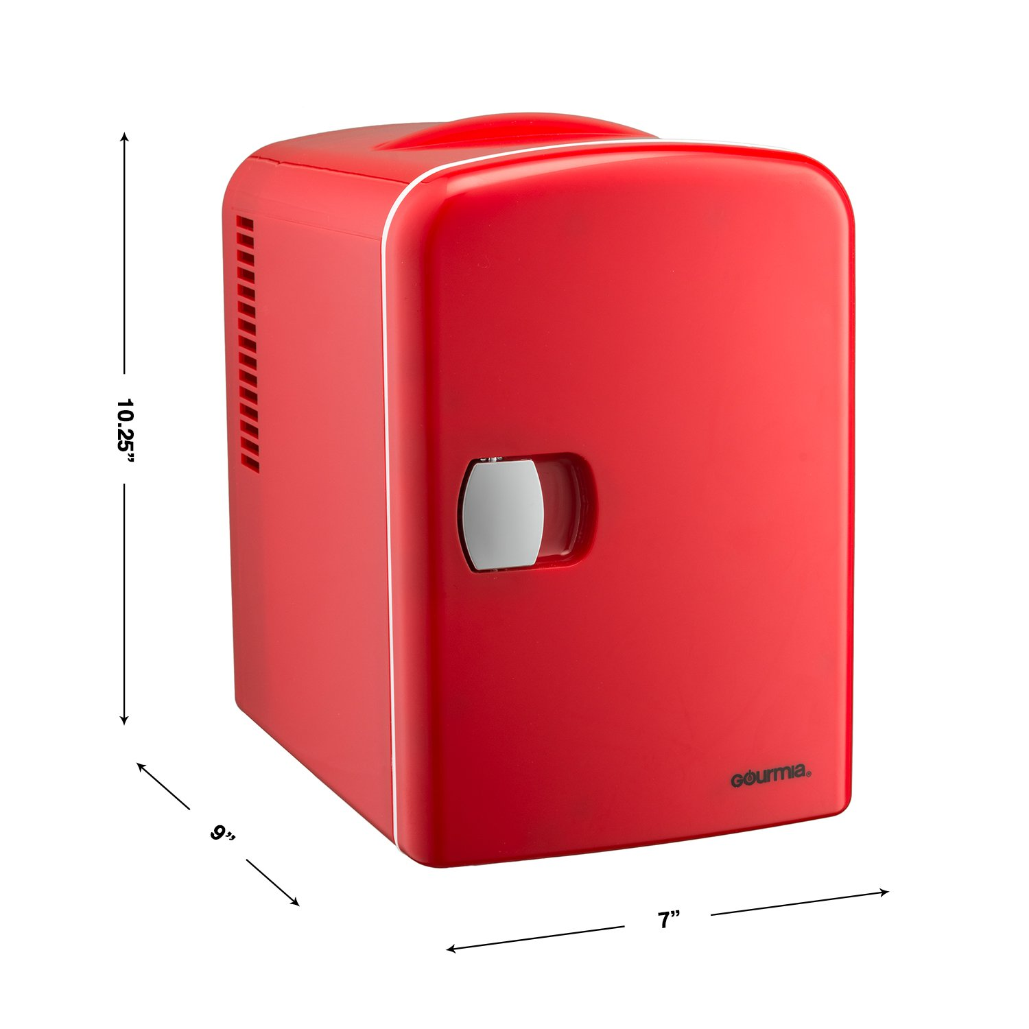 Gourmia GMF600 Thermoelectric Mini Fridge Cooler and Warmer - 4 Liter/ 6 Can - For Home,Office, Car, Dorm or Boat - Compact & Portable - AC & DC Power Cords - Red by Gourmia (Image #8)