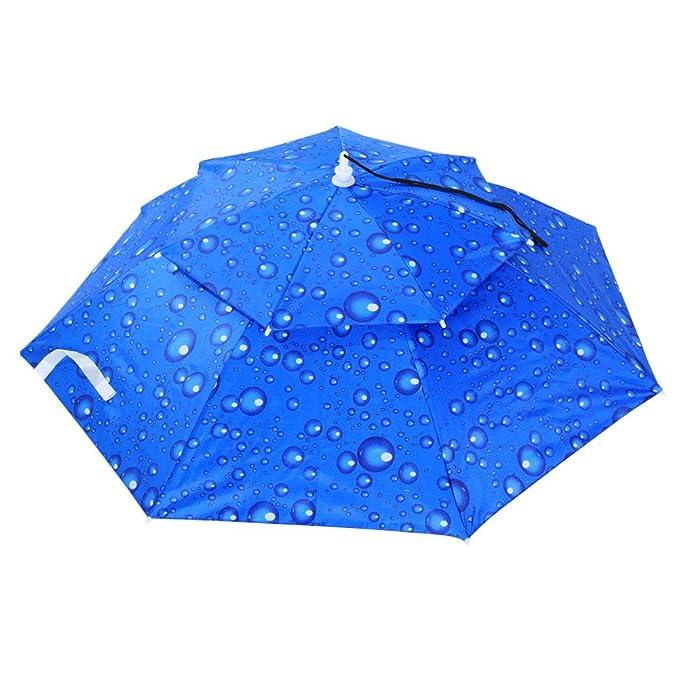 22eb2f5108b72 Diamondo Foldable Head Umbrella Hat Anti-Rain Fishing Sun Shade Parasol Cap  (Blue)