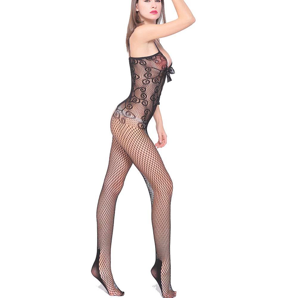 Diversión sexy W040 Mujer Stretch Malla Bodystocking Entrepierna Abierta Costura Sin Costura Abierta Sexy Lencería Erótica Bodysuit Talla única 380398