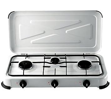 fornello a gas 3 fuochi per gas bombola smaltato bianco: amazon.it ... - Cucina Con Bombola