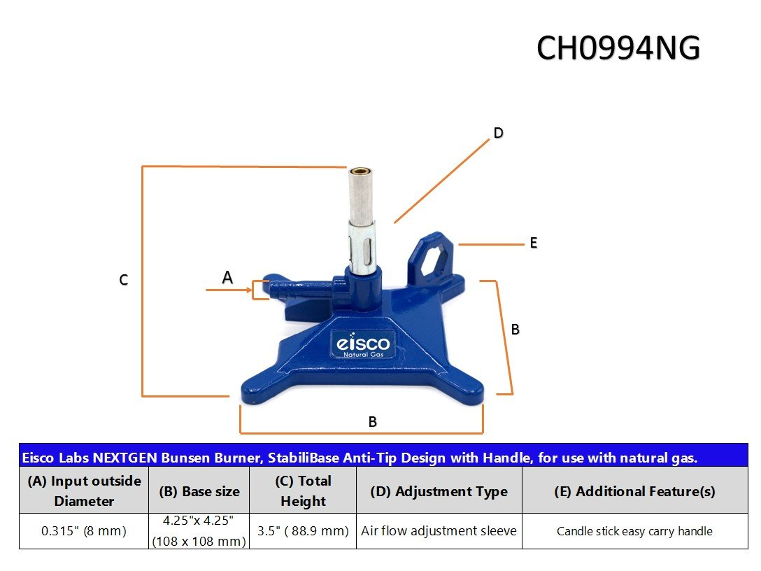 StabiliBase/™ Anti-Tip Design with Handle with Flame Stabilizer Eisco Labs NEXTGEN Micro Bunsen Burner for use with Natural Gas