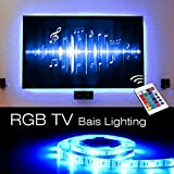 USB LED TV Bias Lighting, Supmoon SP-008 Backlight Strip for 24 inch to 65 inch Flat HDTV 20 Color options Sync Switch On/off with TV Dimmable Remote Control (RGB)