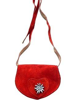 35ab38b26c301 Kleine Trachtentasche Dirndltasche Umhängetasche mit Edelweiss Leder rot