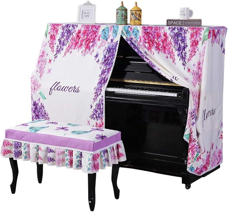 キーボードカバー 花柄のアップライトピアノカバー付きベンチカバーフチ防塵カバー防塵保護衣アップライトピアノカバー 可愛い おしゃれ (Color : Purple, Size : 40x80cm)