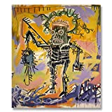 Jean-Michel Basquiat Original Graffiti Art Fishing 1981 Canvas Paintings Hand Painted Reproduction Unframed Tablet - 42X48 inch (107X122 cm) for Living Room Bedroom Dining Room Wall Decor To DIY Frame
