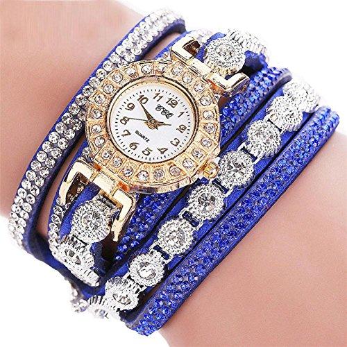 Start Women Multilayer Bracelet Rhinestone Leather Casual Watch -CCQ (Blue) from Start